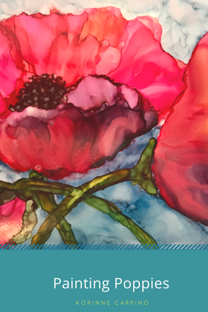 How to paint beautiful poppies with Ranger alcohol ink and an aqua brush on Yupo.  Click on the picture to see the instructions!