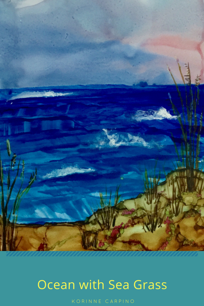 Alcohol Ink Ocean Scene by using a key card