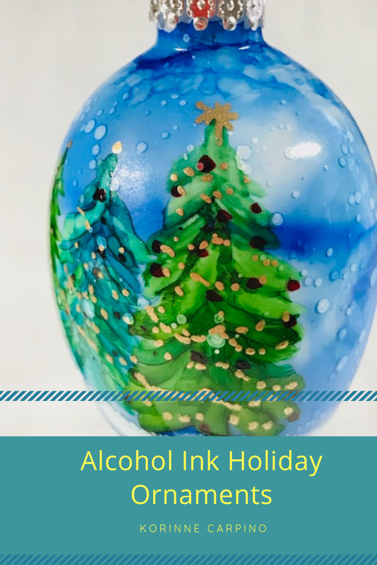 Alcohol Ink Holiday Ornaments