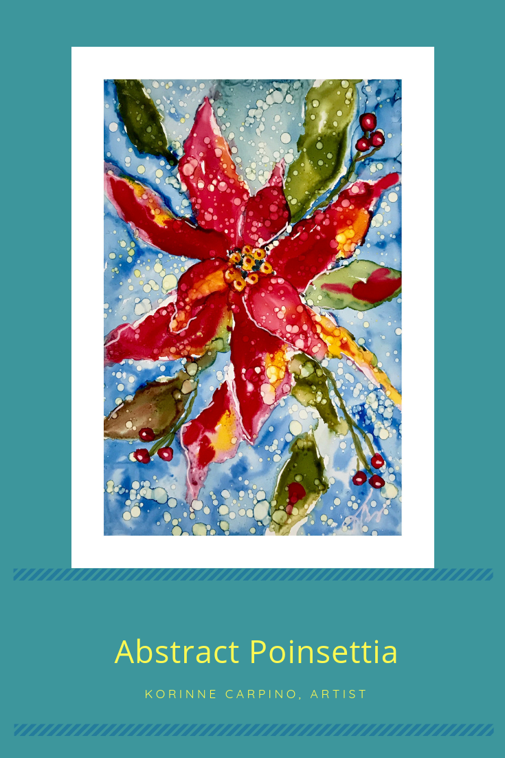 Abstract Poinsettias with Alcohol Inks