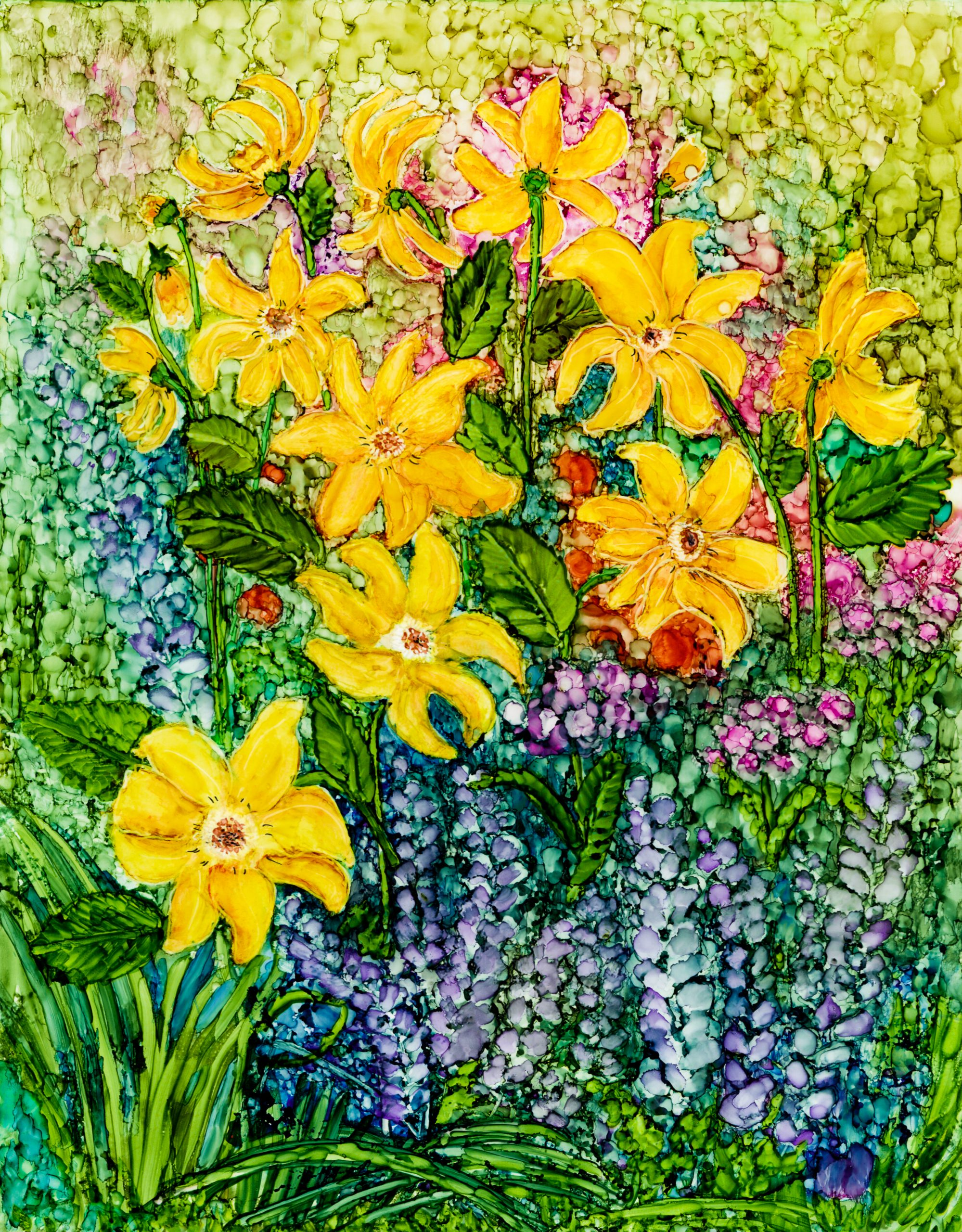 Flower Garden Painting in Alcohol Ink by Korinne Carpino