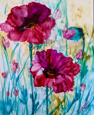 Poppy Painting in Alcohol Ink by Korinne Carpino