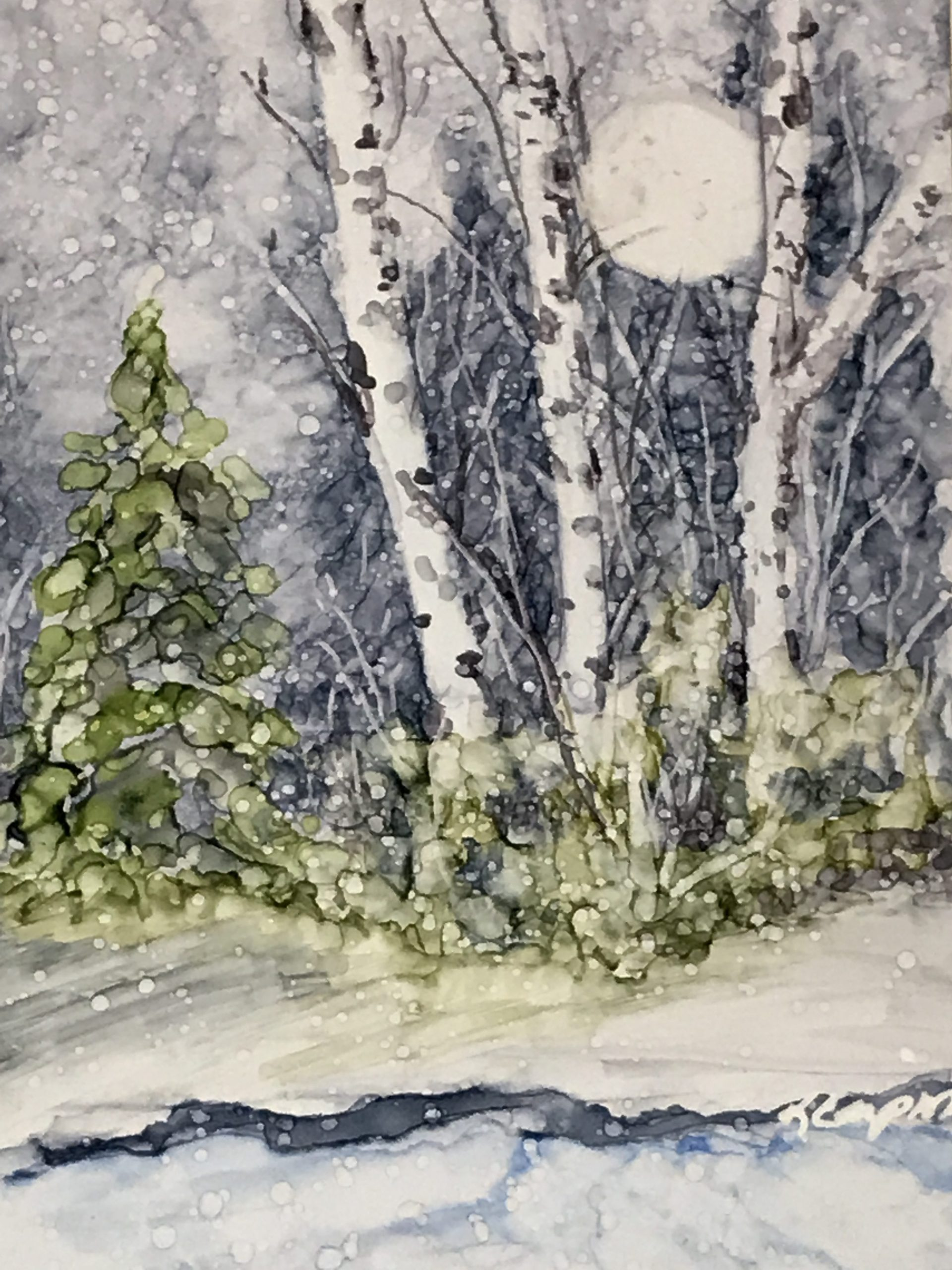 Winter Landscape Painting by Korinne Carpino