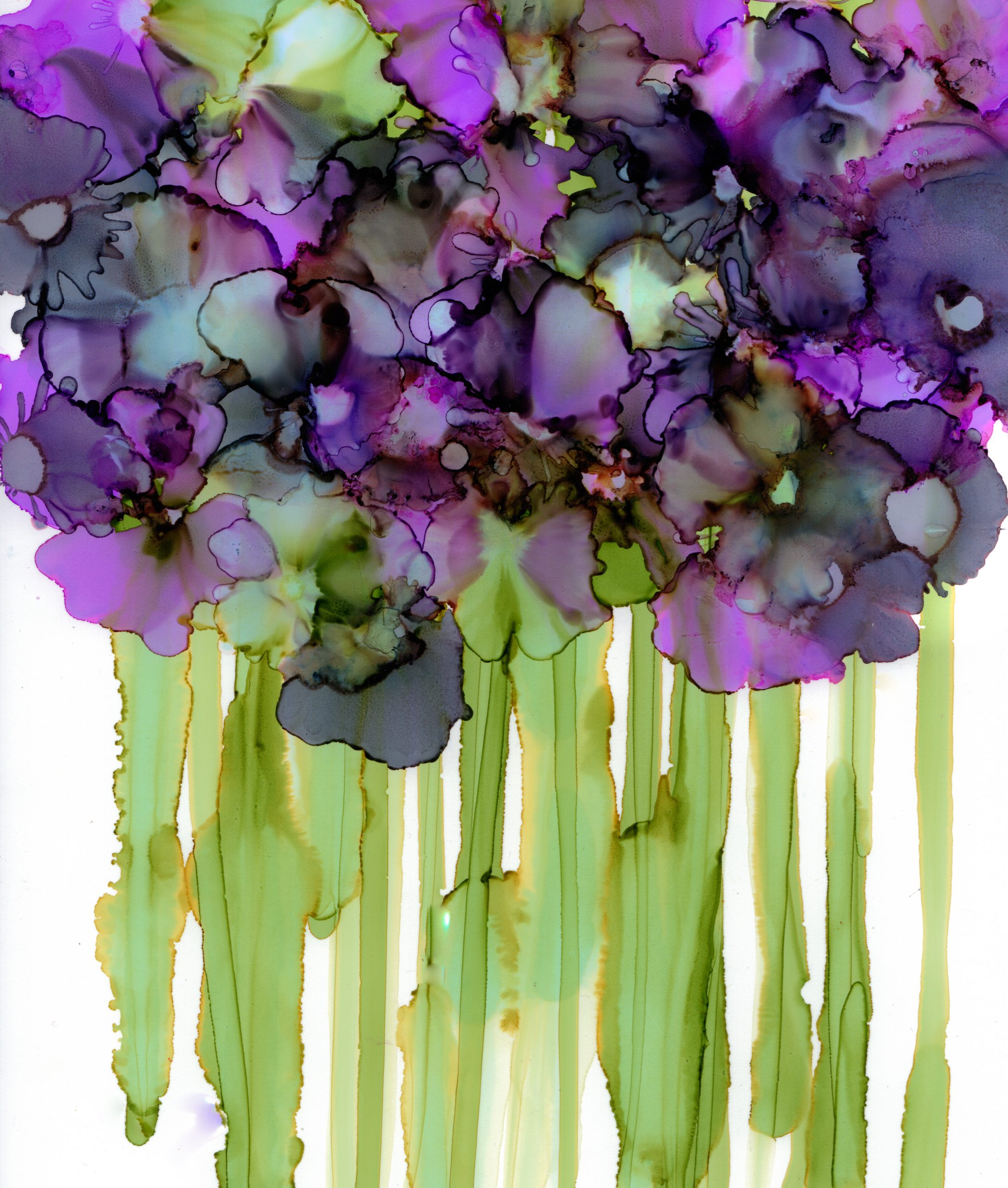 Contemporary Floral Painting in Alcohol Ink by Korinne Carpino