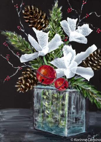 Alcohol Ink Christmas Bouquet Painting by Korinne Carpino