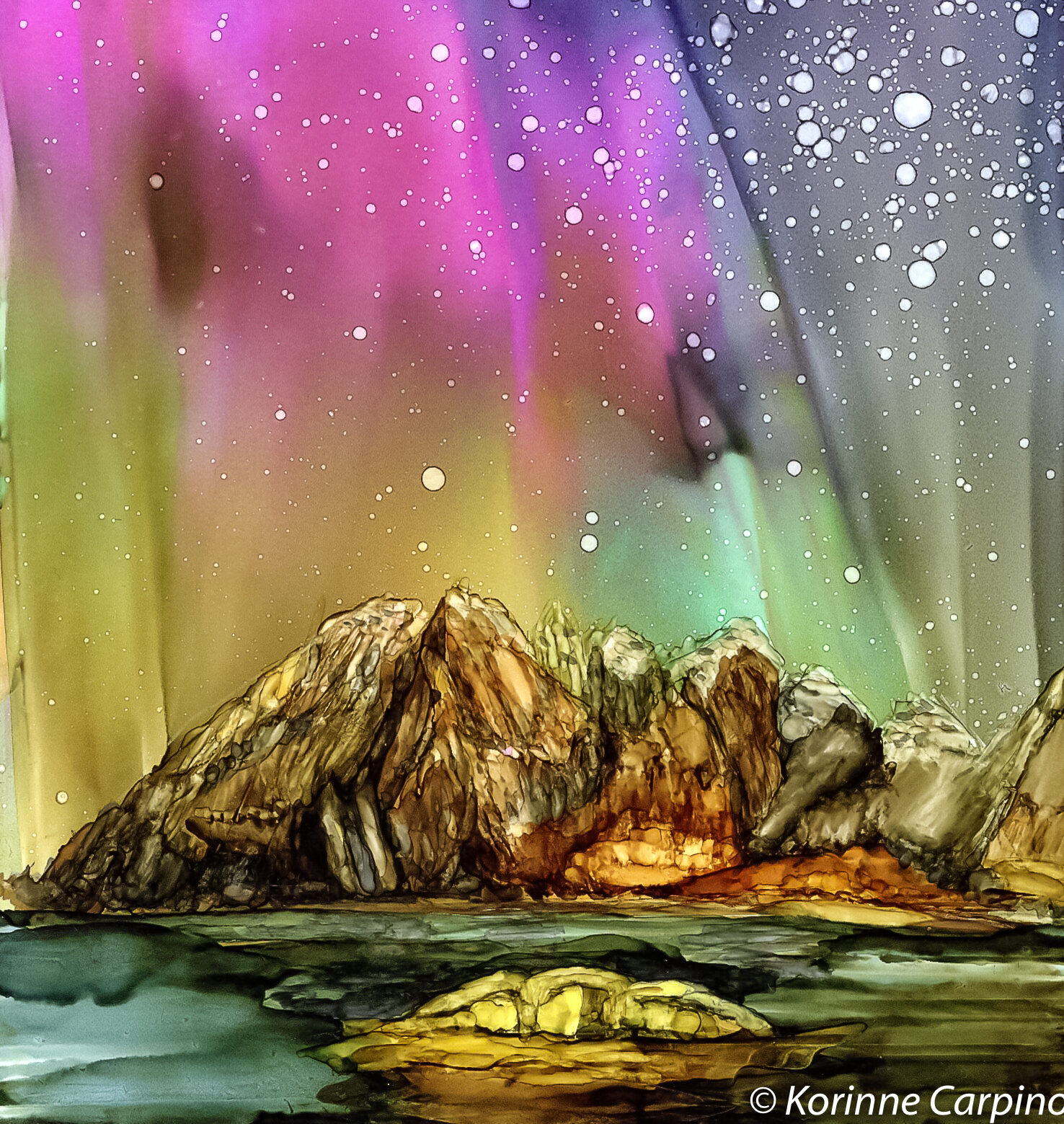 Alaskan Aurora Painting in Alcohol Ink by Korinne Carpino