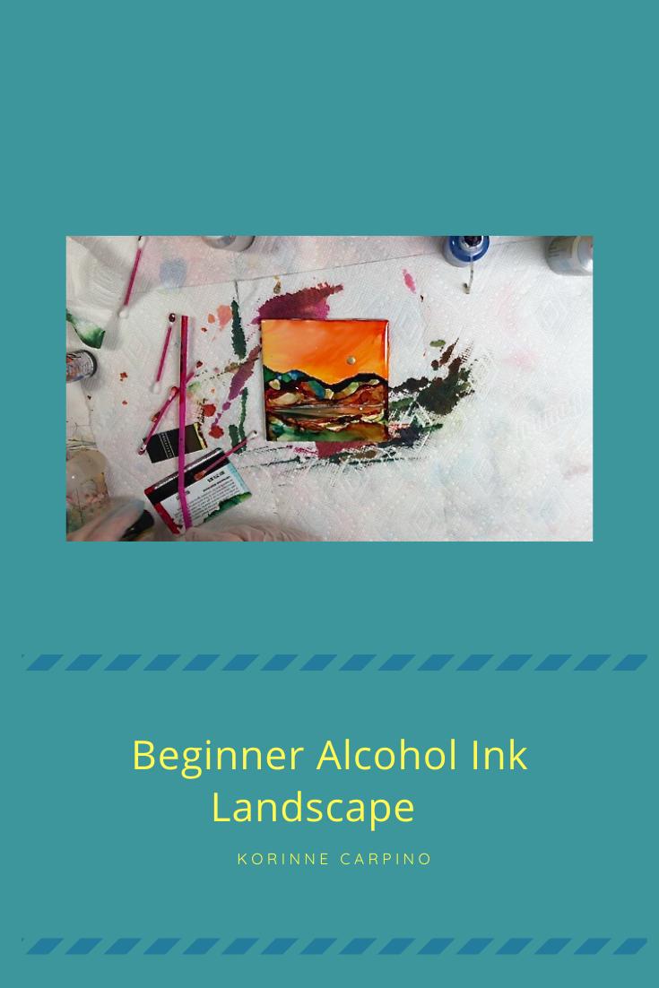 Beginner Alcohol Ink Landscape on Ceramic Tile