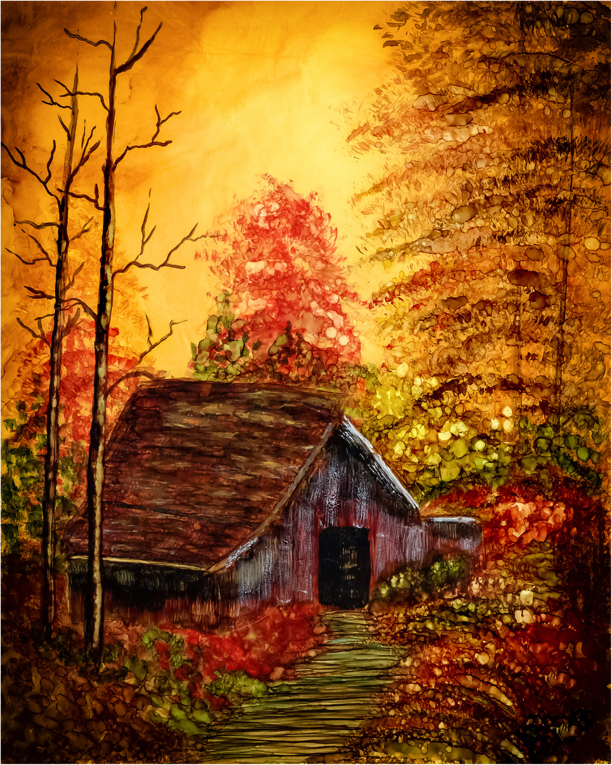 Landscape Painting in Alcohol Ink by Korinne Carpino