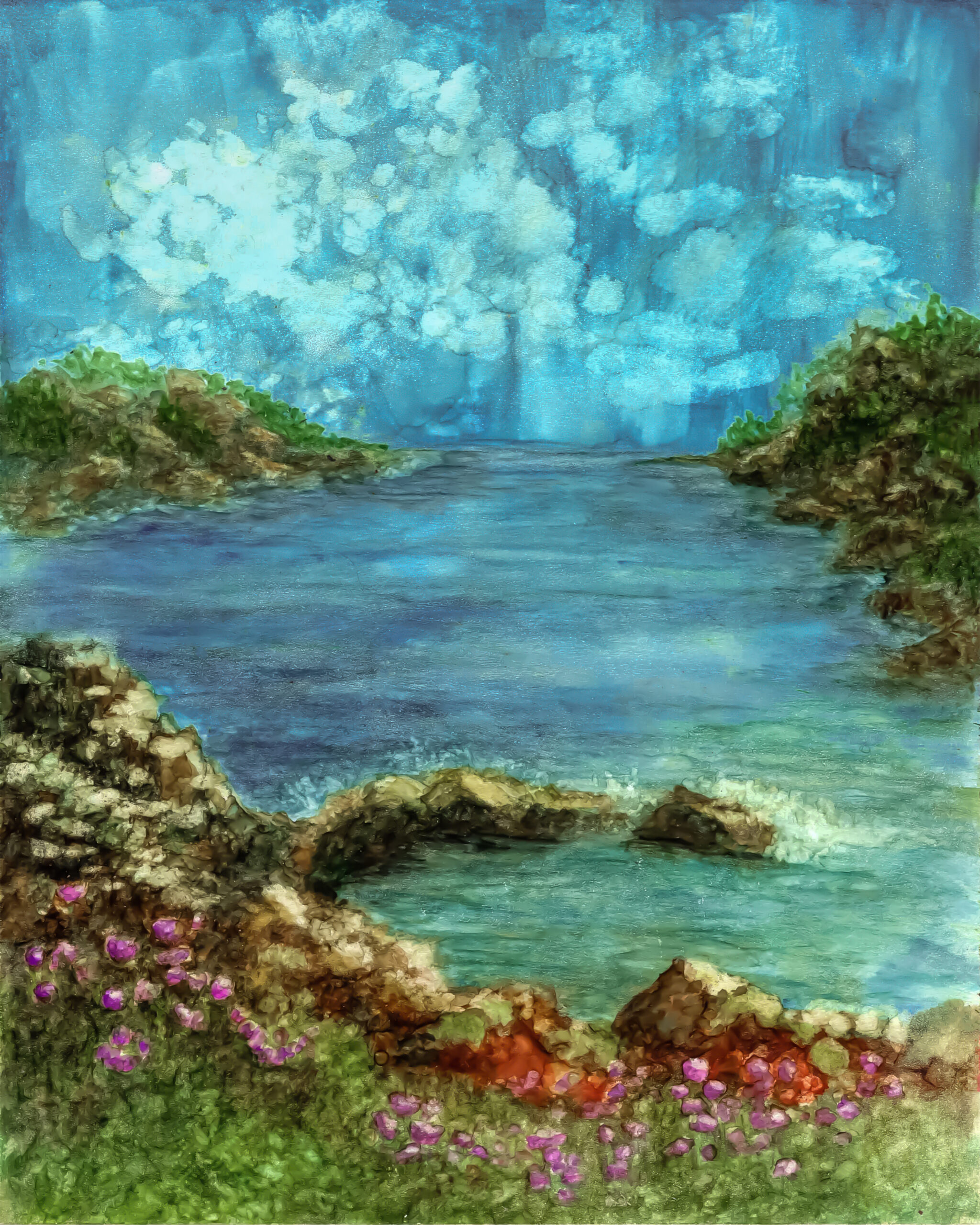 Seaside Painting in Alcohol Ink by Korinne Carpino