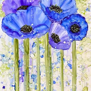 Contemporary Abstract Blue Poppy Painting