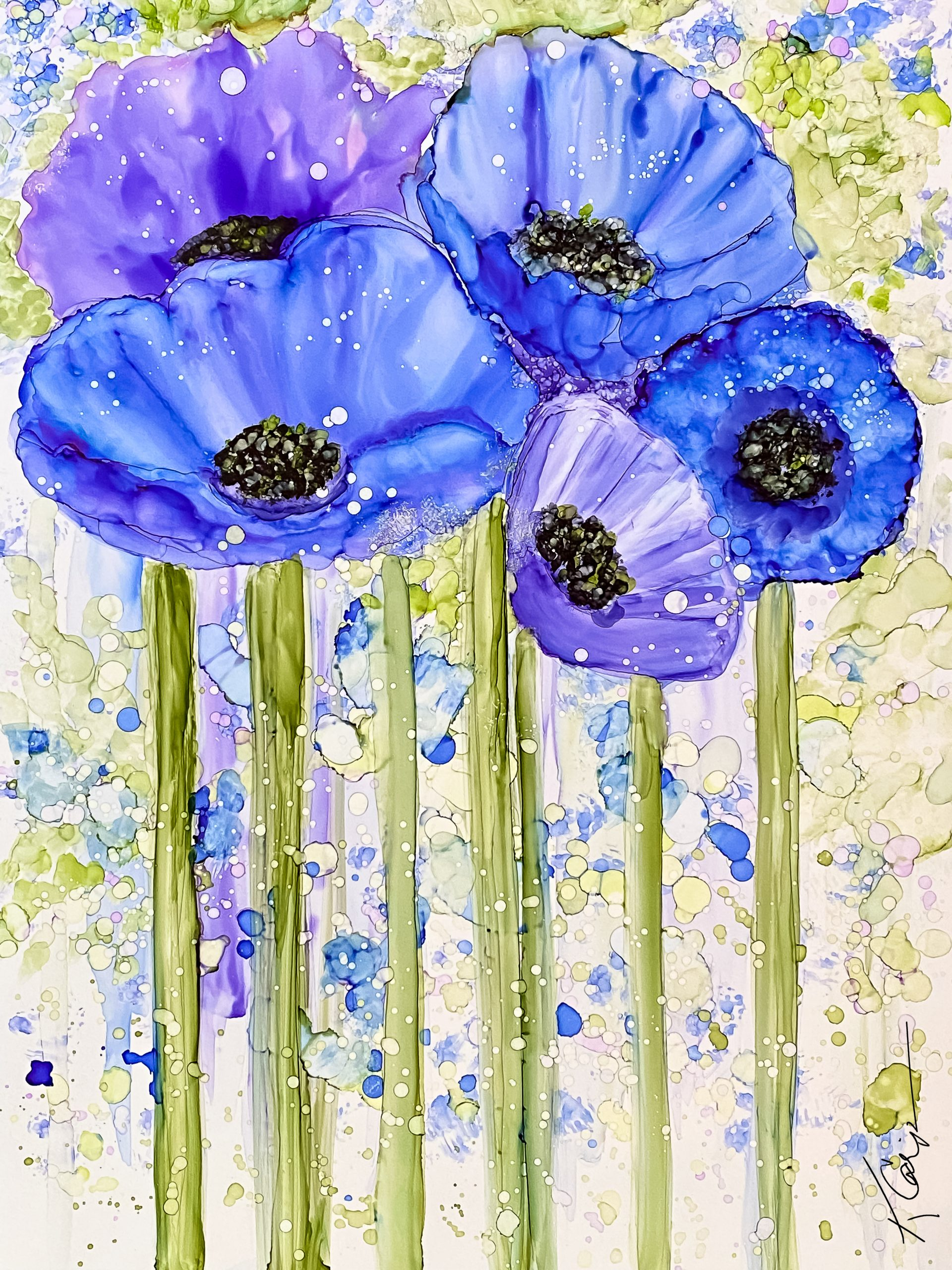 Alcohol Ink Poppy Painting