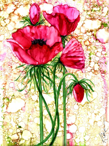 Alcohol Ink Pink Poppy Painting