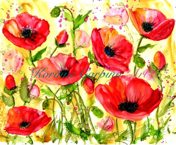 Red Poppies Alcohol Ink Print