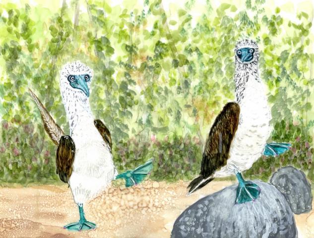Alcohol Ink Bird Painting by Korinne Carpino