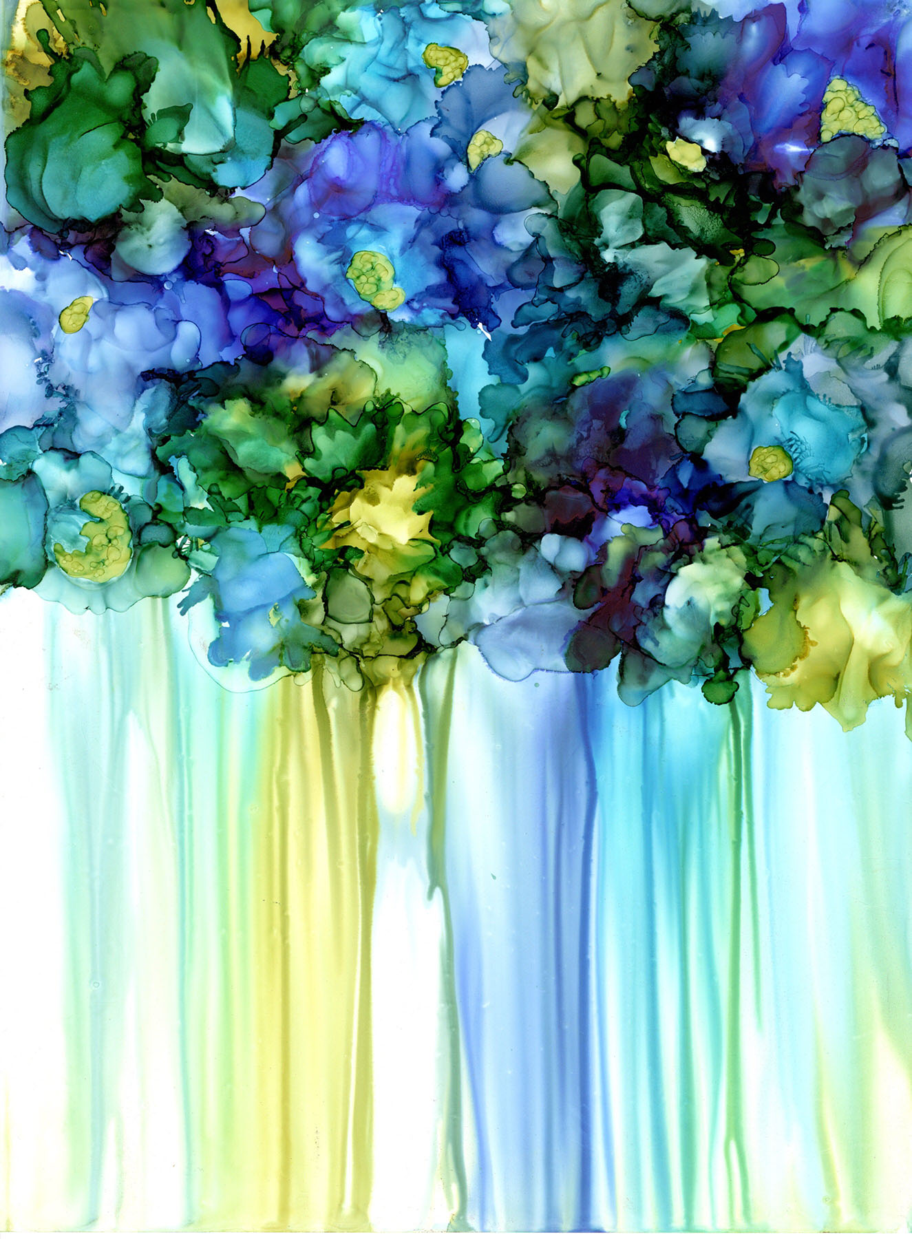 Alcohol Ink Contemporary Violets Painting by Korinne Carpino