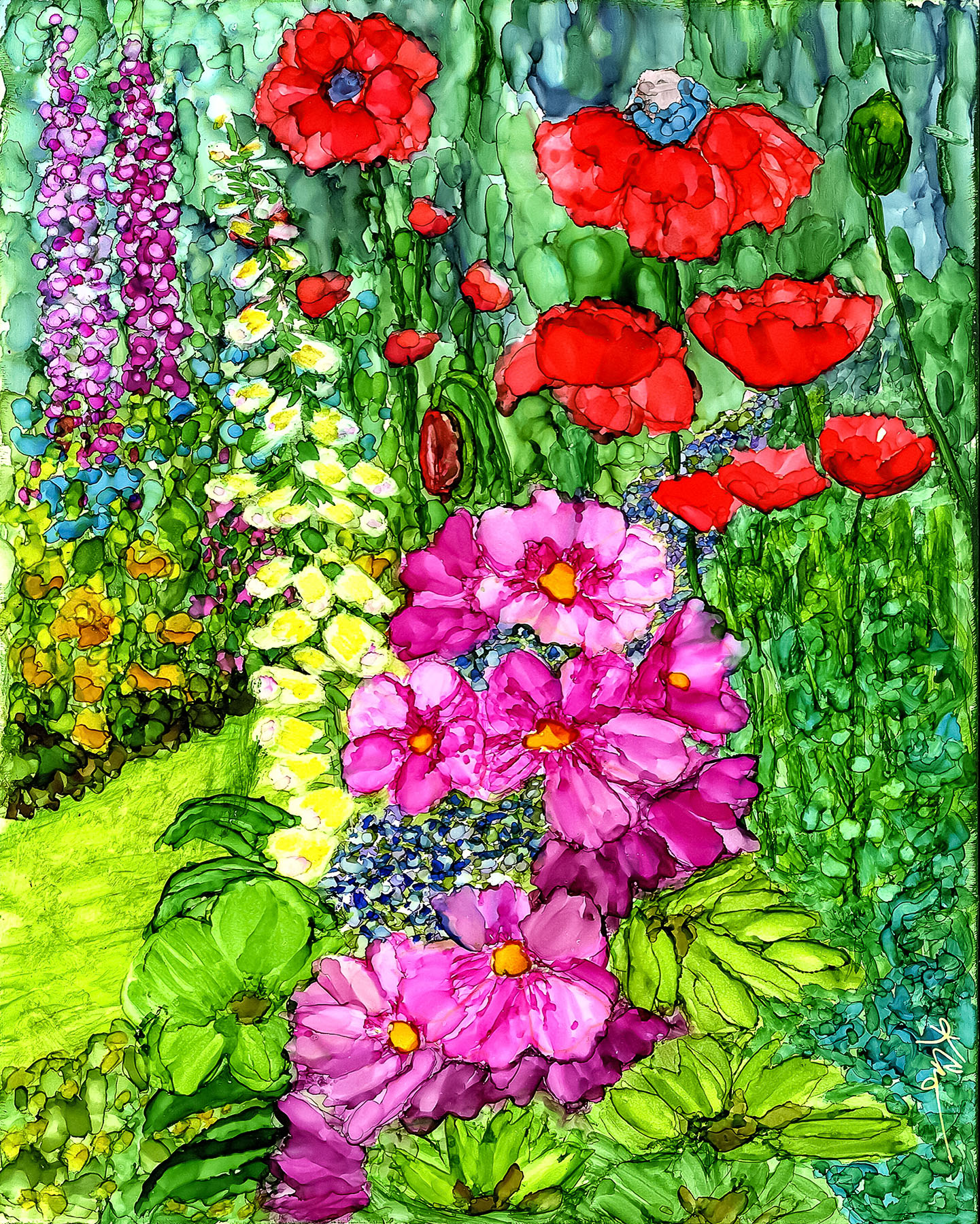 Alcohol Ink Cottage Garden Painting by Korinne Carpino