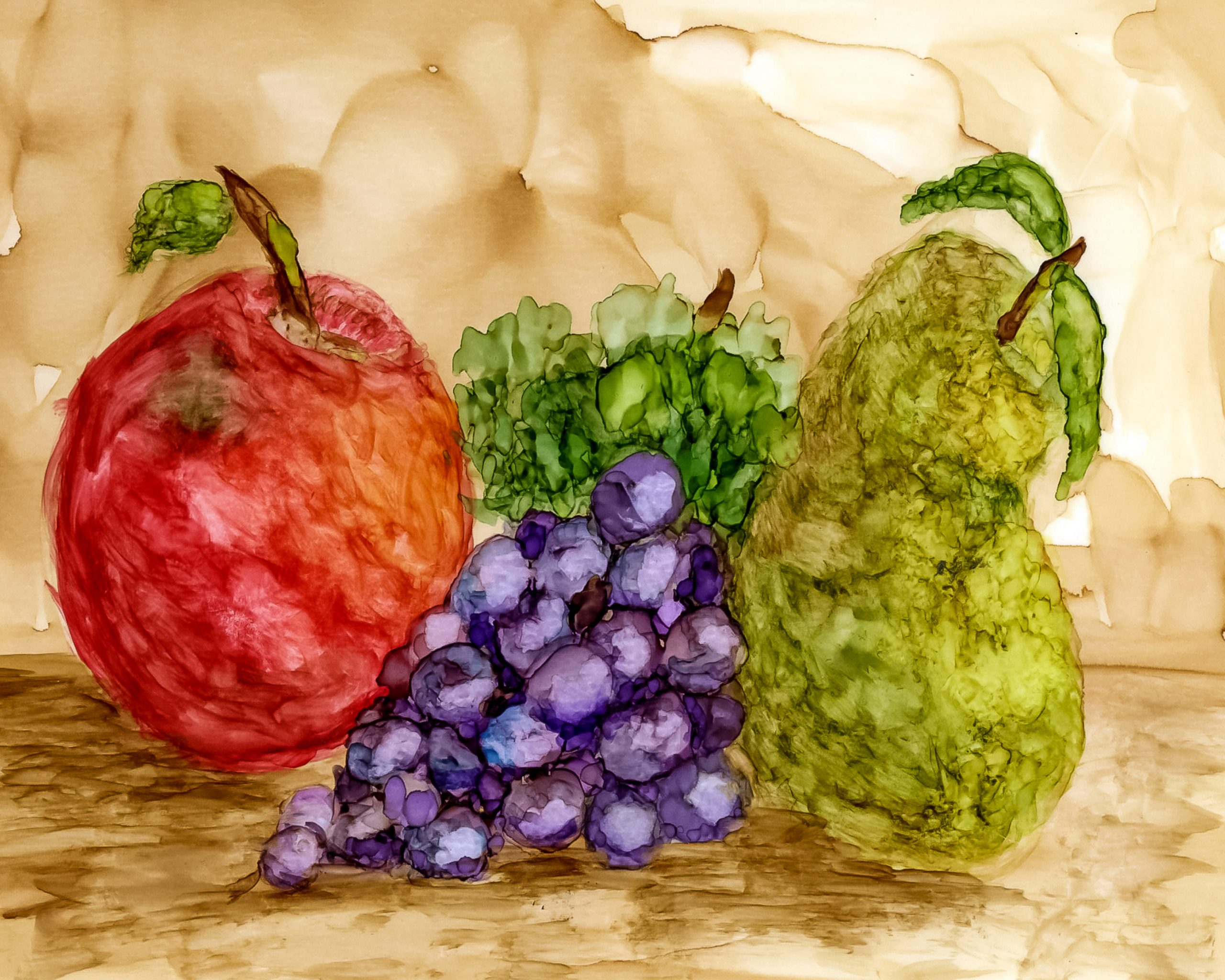 Alcohol Ink Still Life Fruit Painting