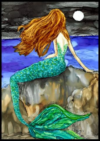 Alcohol Ink Mermaid Painting by Korinne Carpino