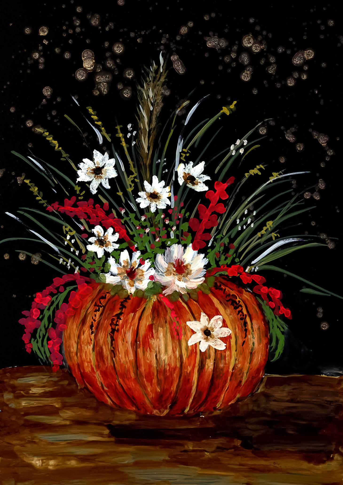 Alcohol Ink Autumn Bouquet Painting