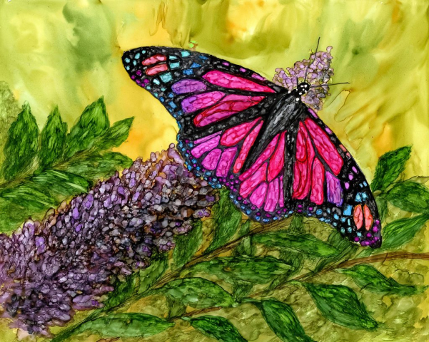 Alcohol Ink Tropical Butterfly Painting by Korinne Carpino