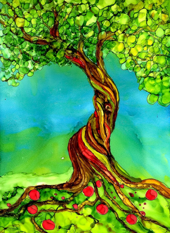 Alcohol Ink Whimsical Tree Painting by Korinne Carpino