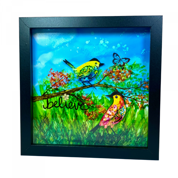 Shadow Box Believe Alcohol Ink Painting