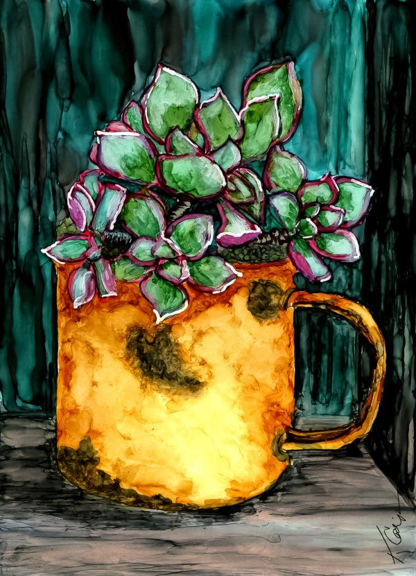 Alcohol Ink Painting Succulents in an Enamel Cup