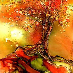 Whimsical Autumn Tree Art Print