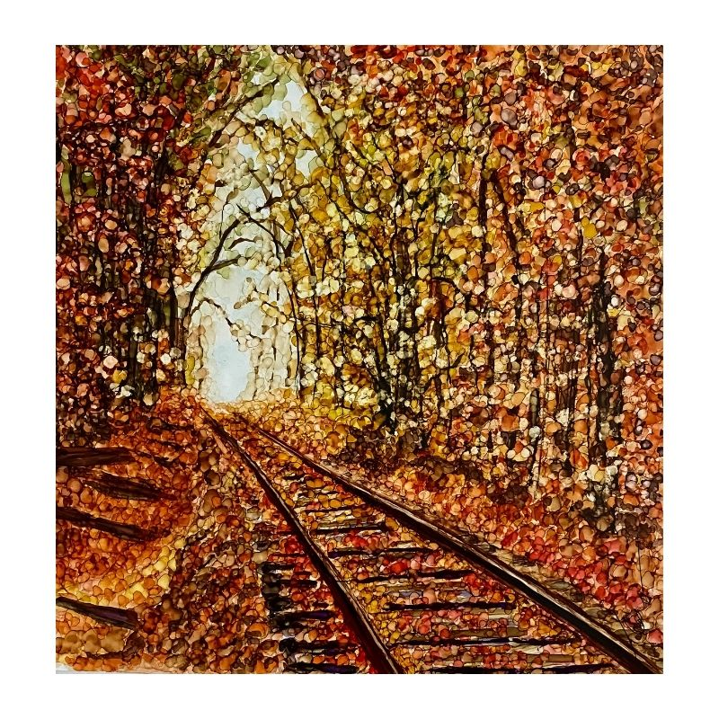 alcohol ink painting of railroad tracks