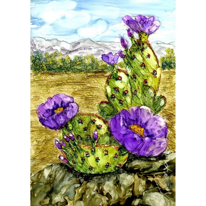 Prickly Pear in Alcohol Ink